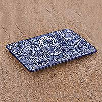 Ceramic tray, 'Intricate Garden' - Handcrafted Rectangular Blue Floral and Paisley Ceramic Tray