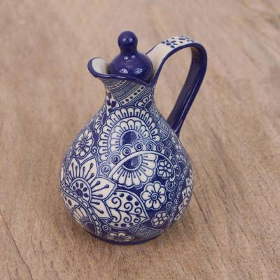 Ceramic cruet, 'Garden Splash' - Handcrafted Cobalt Blue Floral Ceramic Cruet from Mexico