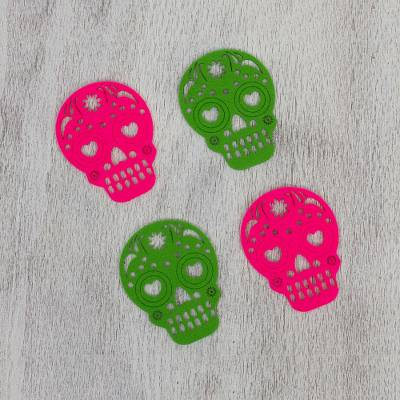 Felt coasters, 'Pink and Green Happy Skulls' (set of 4) - Pink and Green Felt Skull Coasters from Mexico (Set of 4)