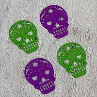 Felt coasters, 'Happy Skulls Purple and Green' (set of 4) - Purple Green Felt Skull Coasters from Mexico (Set of 4)