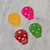 Felt coasters, 'Happy Skulls Assorted Colors' (set of 4) - Assorted Color Felt Skull Coasters from Mexico (Set of 4)