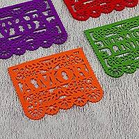 Felt coasters, 'Fiesta Fun' (set of 4) - Felt Coasters from Mexico Assorted Colors (Set of 4)