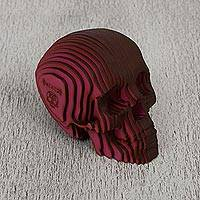 Wood sculpture, 'Soul Searcher in Red' - Modern Handcrafted Red Laser Cut Wood Skull Sculpture