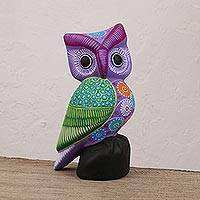 Ceramic statuette, 'Night Traveler' - Purple and Multi-Color Hand Painted Ceramic Owl Statuette
