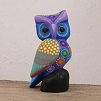 Ceramic statuette, 'Night Friend' - Blue and Multi-Color Hand Painted Ceramic Owl Statuette