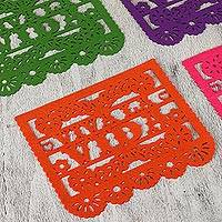 Felt placemats, 'Viva la Vida' (set of 4) - Handcrafted Multicolor Felt Placemats from Mexico (Set of 4)