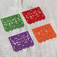Felt coasters, 'Join the Party' (set of 4) - Handcrafted Felt Multicolor Coasters from Mexico (Set of 4)