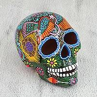 Ceramic statuette, 'Glorious Ancestors' - Hand Painted Multi-Color Floral and Dove Ceramic Skull
