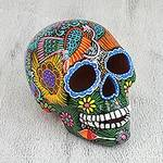 Hand Painted Multi-Color Floral and Dove Ceramic Skull, 'Glorious Ancestors'