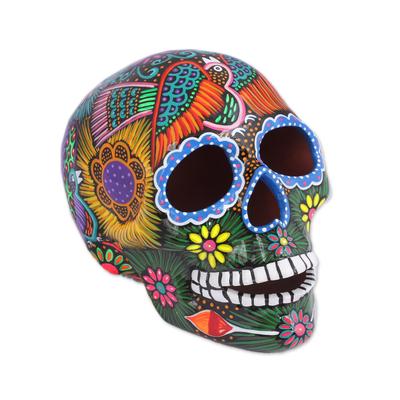 Ceramic statuette, 'Glorious Ancestors' - Hand Painted Multi-Color Floral and Dove Ceramic Skull