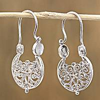 Sterling silver filigree hoop earrings, 'Swirling Splendor' - Handcrafted Sterling Silver FiligreHoop Earrings from Mexico