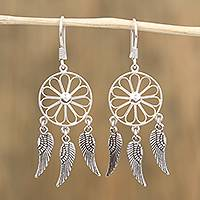Sterling silver dangle earrings, 'Wings of Glory' - Handcrafted Sterling Silver Wing Dangle Earrings from Mexico