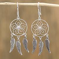 Sterling silver dangle earrings, 'Wings of Beauty' - Floral Sterling Silver Dangle Earrings from Mexico