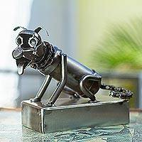Upcycled metal sculpture, 'Shiny Dog' - Handcrafted Upcycled Metal Auto Parts Dog Sculpture