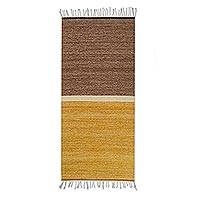 Wool area rug, 'Welcome Guest' (2.5x5) - Hand Woven Brown Wool Area Rug from Mexico (2.5x5)