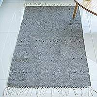 Wool area rug, 'Welcome In' (2.5x5) - Hand Woven Wool Area Rug from Mexico (2.5x5)