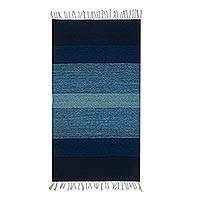 Wool area rug, 'Ocean by Night' (2.5x5) - Hand Woven Blue Striped Wool Area Rug from Mexico (2.5x5)