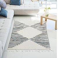Wool area rug, 'Lines of Life' (4x7.5)
