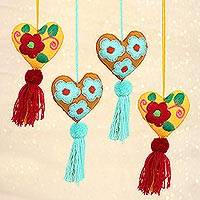 Wool and cotton ornaments, 'Cheerful Festivities' (set of 4) - Wool and Cotton Heart Shaped Ornaments (Set of 4)