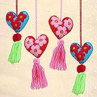Wool and cotton ornaments, 'Happy Festivities' (set of 4) - Wool and Cotton Heart Shaped Ornaments (Set of 4)