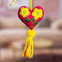 Wool and cotton ornaments, 'Bright Festivities' (set of 4) - Wool and Cotton Heart Shaped Ornaments (Set of 4)