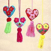 Wool and cotton ornaments, 'Blissful Festivities' (set of 4) - Wool and Cotton Heart Shaped Ornaments (Set of 4)