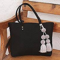 Cotton shoulder bag, 'Cheery Night' - Black Handwoven Cotton Shoulder Bag with Grey Pompom Tassels