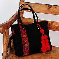 Cotton shoulder bag, 'Larrainzar Geometry' - Handwoven Cotton Shoulder Bag in Black and Red from Mexico