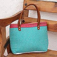Cotton handbag, 'Happy Shopper' - Pink and Sea Green Handwoven Cotton Suede Accent Handbag
