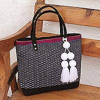 Cotton shoulder bag, 'Cityscape' - Black and White Handwoven Cotton Suede Accent Shoulder Bag