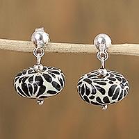 Ceramic dangle earrings, 'Raven Garden' - Talavera-Style Ceramic Black and White Dangle Earrings