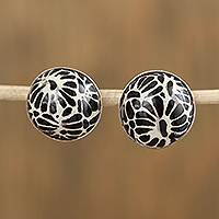 Ceramic button earrings, 'Raven Blooms' - Talavera-Style Black and White Round Ceramic Button Earrings