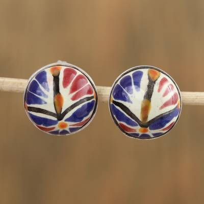 Ceramic button earrings, 'Harvest Blooms' - Talavera-Style Blue and Orange Round Ceramic Button Earrings