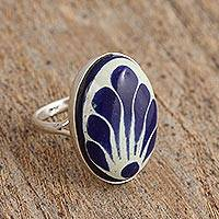 Ceramic cocktail ring, 'Tradition Bouquet' - Talavera-Style Blue and White Oval Ceramic Ring