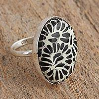 Ceramic cocktail ring, 'Raven Bouquet' - Talavera-Style Black and White Oval Ceramic Cocktail Ring