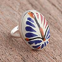 Ceramic cocktail ring, 'Harvest Bouquet' - Talavera-Style Blue and Orange Oval Ceramic Cocktail Ring