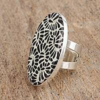 Ceramic cocktail ring, 'Ebony Garden' - Talavera-Style Black and White Ceramic Cocktail Ring