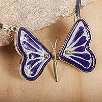 Ceramic pendant necklace, 'Blue Metamorphosis' - Blue Ceramic and Sterling Silver Butterfly Pendant Necklace