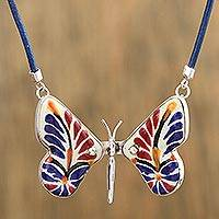 Ceramic pendant necklace, 'Harvest Metamorphosis' - Colorful Ceramic Sterling Silver Butterfly Pendant Necklace