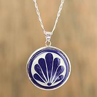 Ceramic pendant necklace, 'Window Garden' - Blue and White Ceramic and Sterling Silver Pendant Necklace