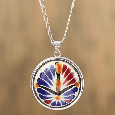 Ceramic pendant necklace, 'Harvest Garden Window' - Blue and Orange Ceramic and Sterling Silver Pendant Necklace