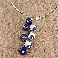 Ceramic pendant Y necklace, 'Blue Partners' - Blue White Ceramic Bead Pendant Sterling Silver Y Necklace