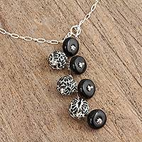 Ceramic pendant Y necklace, 'Raven Partners' - Black White Ceramic Bead Pendant Sterling Silver Y Necklace