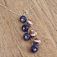 Ceramic pendant necklace, 'Harvest Partners' - Blue Orange Ceramic Bead Pendant Sterling Silver Y Necklace