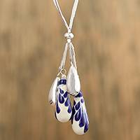 Ceramic pendant necklace, 'Celestial Rain' - Blue and White Ceramic Sterling Silver Pendant Necklace