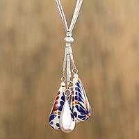 Ceramic pendant necklace, 'Harvest Glory' - Blue and Orange Ceramic Sterling Silver Pendant Necklace