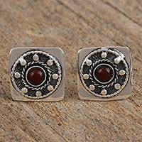 Garnet cufflinks, 'Grand Entrance' - Handmade Garnet and Sterling Silver Cufflinks from Mexico