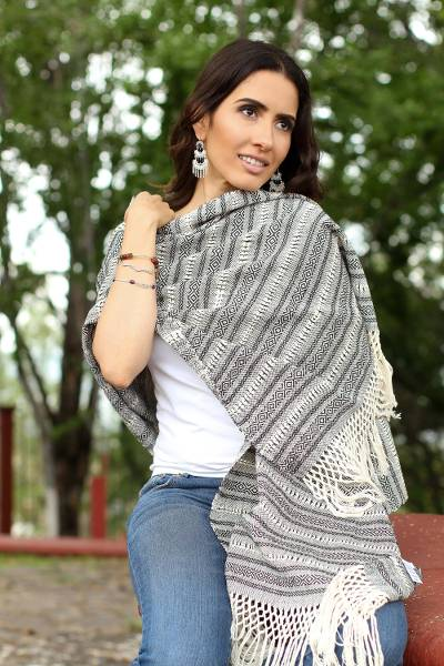 Cotton rebozo, 'Pattern News' - Black and Ivory Multiple Motif Handwoven Cotton Rebozo