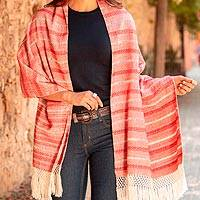 Cotton rebozo, 'Rosy Outlook' - Red and Ivory Multiple Motif Handwoven Cotton Rebozo