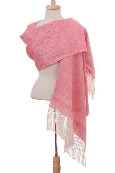 Cotton rebozo, 'Diamond Blush' - Ivory Diamond Motif on Rose Pink Handwoven Cotton Rebozo